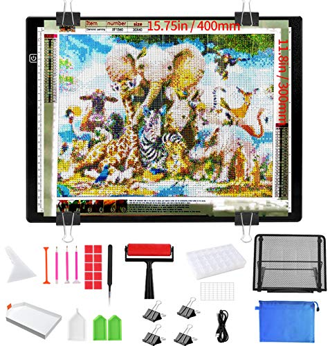 Diamond Painting Light Pad with Premium Metal Stand, B4 Plus 15.8×11.8inch Large Light Box, Super Bright 4500 Lu Dimmable Diamond Art Light Board with Complete Diamond Painting Tools and Accessories