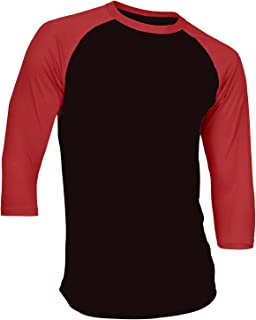 Men's Plain Raglan Shirt 3/4 Sleeve Athletic Baseball Jersey S-3XL (40+ Colors)