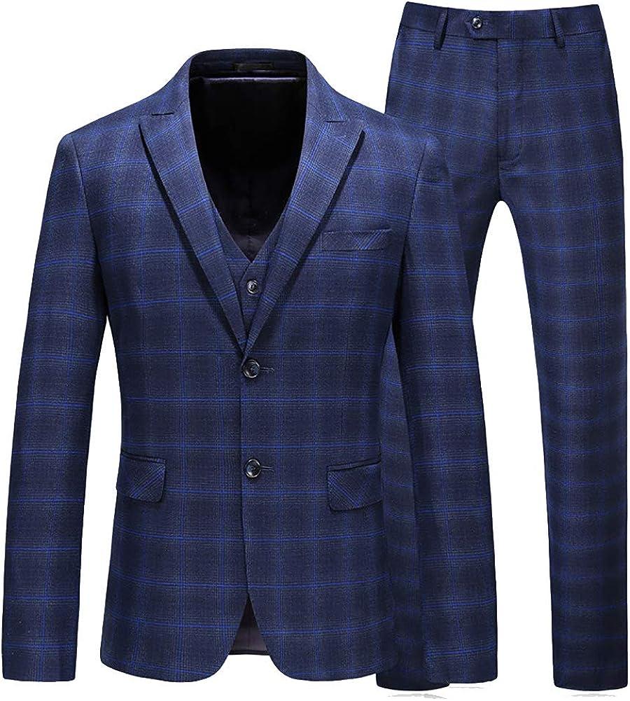 Mens Plaid Suit Double Breasted Check Suit Slim Fit Separate Suits (Blazer, Pant, and Vest)