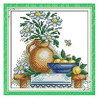 クロスステッチキットDIY刺繍セット ホームデコレーション芸術、工芸&裁縫クロスステッチ - 静物花瓶23x23cm(フレームレス)