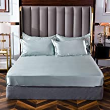 Luxurious Bottom Sheet with Strong Elastic Hem to Fit Snugly Around Your Mattress,Washed Silk Solid Color Sheets,Non-Slip ...