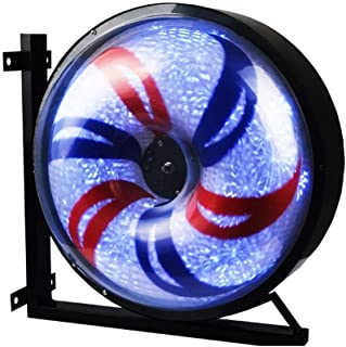 Wall Mounted 27/38 Led Barber Pole Windmill Round Light Rotating Spinning Red White Blue Strips Hairdressing Salon Electri...