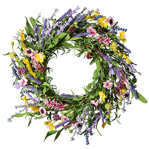 LIFEFAIR Front Door Wreath,22 inch Spring Wreath with Springtime Faux Flower and Grapevine Wreath Base, Summer Wreath