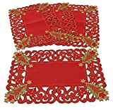 Fennco Styles Pandora Collection Holiday Christmas Tree Tablecloth - 2 Colors (Red, 16'x68' Table Runner)