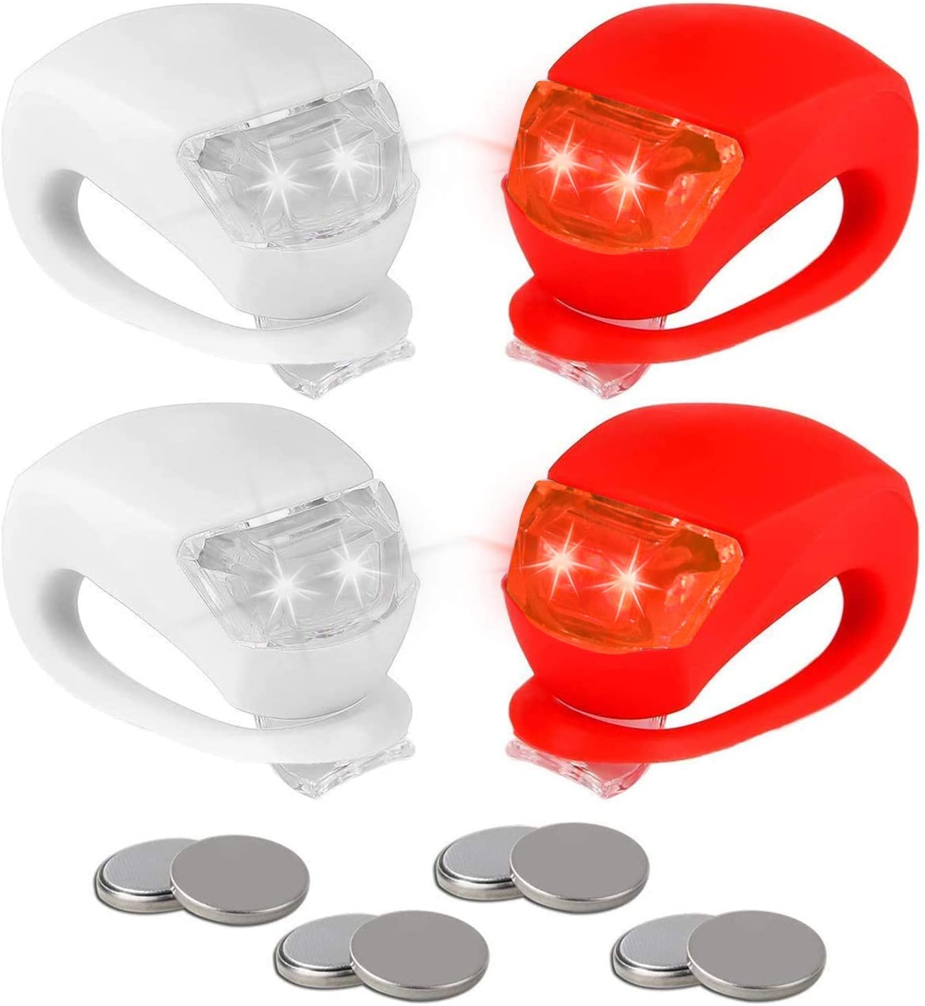 NEW Bicycle Lamp Bike Light LED Silicone Front Rear Lights Taillight DE
