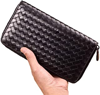 TRN Wallet Men's Long Zipper Wallet Leather Bv Handbag Men