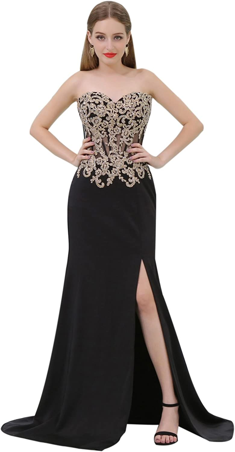 CuteShe Women's Long Mermaid Prom Evening Dresses Formal Gowns Silt Before with Lace Applique Crystal