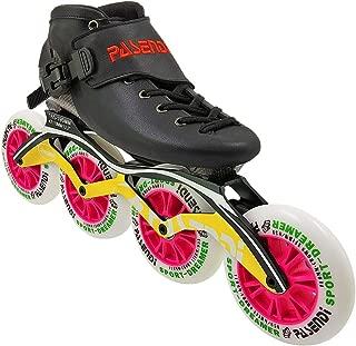 PASENDI Carbon Fibre Speed Skate Shoes Roller Skates Adult for Women and Men Inline Skates Shoes 4X110mm Wheels(Blue Wheels Pink Wheels)