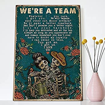 SIGNCHAT Skeleton Gardening We¡¯Re A Team Couple Wall Art Poster Cute Sign Wall Decor Metal Sign Poster 8X12 Inches