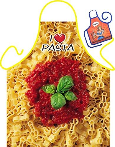 Pasta Motiv Kochschürze Italien Pasta Nudeln Sorten Schürze : Pimmelpasta -- Themenschürze mit Minischürze für Flaschen