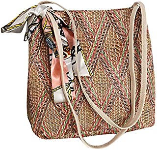 TOOGOO Bohemian Summer Straw Beach Bag Travel Shopping Female Tote Wicker Bags Blue