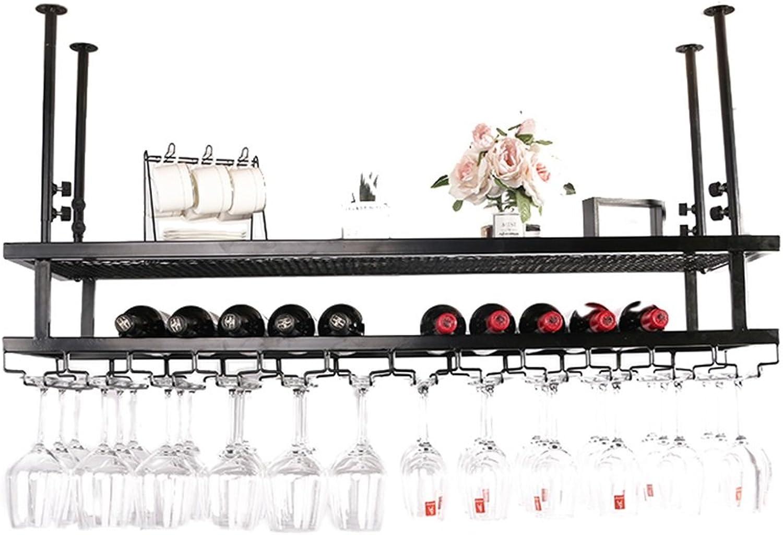 protección post-venta YXQ YXQ YXQ Suspensión de Hierro Forjado Negro Bronce Ajustable 2 Colors 4 Tamaños Disponibles Estante del Vino (Color   negro, Talla   60  30cm)  oferta de tienda