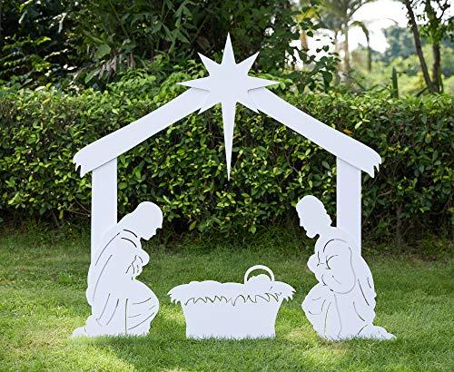 TOETOL Outdoor Nativity Set for Christmas, Large Outdoor Nativity Scene Manger Scene for Yard (White) (White)