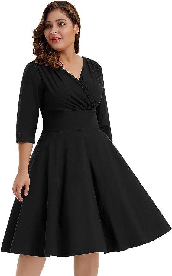 1950s Plus Size Dresses, Swing Dresses Hanna Nikole Womens Vintage 1950s Style Sleeved Plus Size Swing Dress  AT vintagedancer.com