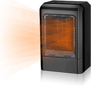 SZJX Mini Calefactor Cerámico, Calefactor Portátil Eléctrico para Cuarto/Baño/Oficina, 2 Configuraciones de Temperatura, Negro