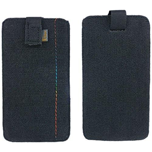 handy-point 5,0'' Filztasche Tasche Hülle aus Filz für Samsung, iPhone, Sony, Lenovo Moto, Huawei, Alcatel, Gigaset, Medion, Neffos, Geräte mit Max.14,2x7,3xx1cm (Schwarz)