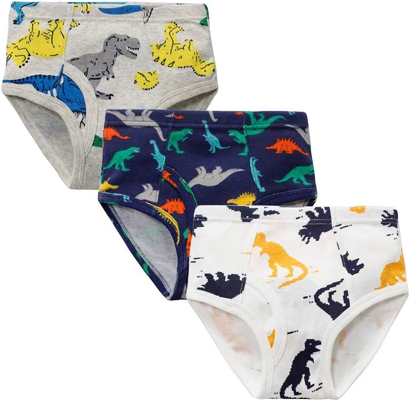 Toddler Little Big Boys Soft Modal Briefs Underwear 2-15Yrs Pack of 3 Dinosaur Car Ect,Two,S