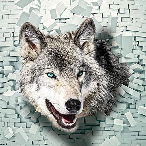 FORWALL Fototapete Vliestapete Wolf kommt aus der Wand 3D Wohnzimmer Schlafzimmer VEXXL (312cm. x 219cm.)