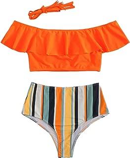 Women's Bathing Suits Ruffle Off The Shoulder Bikini Set High Waisted Swimsuits