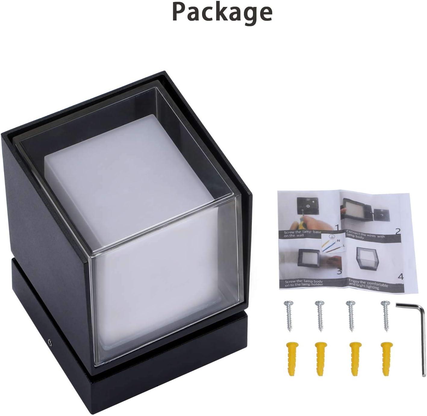 Camino Jard/ín Patio 3000K Blanco C/álido Lightess Apliques de Pared Exterior 12W L/ámpara de Pared LED Luz de Aluminio Moderno 360/° Rotaci/ón Impermeable IP66 Iluminaci/ón para Balc/ón Porche
