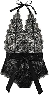 Moilant Women's Sexy Lingerie V-Neck Eyelash Lace Bodysuit Bowknot Backless Jumpsuit