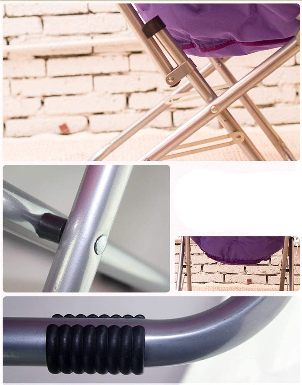 XYFJD Chaise De Loisirs en Plein Air Tabouret Rond Lune Chaises Chaise Pliante Déjeuner Pause Chaises Arrières Chaises (Color : Khaki) Purple