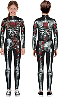 🍒 Spring Color 🍒 Kid's Glow in The Dark Skeleton Bodysuit Halloween Costume for Girls & Boys