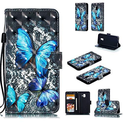 JEEXIA® beschermhoes voor, anti-val PU lederen hoes flip cover portefeuille insleuven met standaard 3D visuele effecten reliëf schilderij, Samsung Galaxy J2 Core, Blauwe diamantvlinder