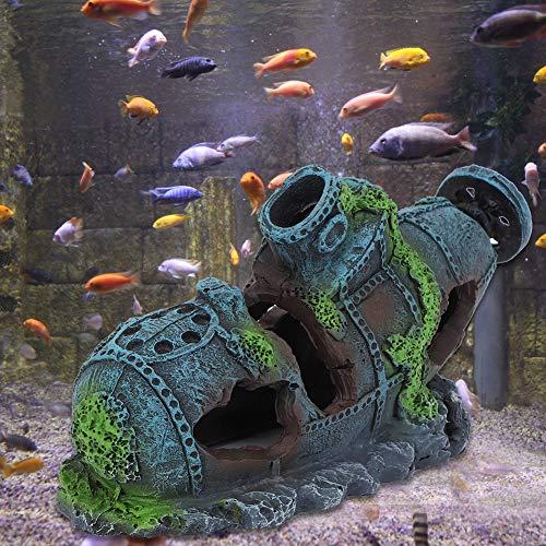 HelloCreate Künstliche Aquariumdekoration aus Kunstharz, Schiffswrack, Wasserpflanzen, Reptilien, Versteck