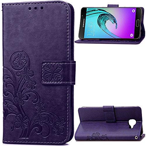 Tosim Galaxy A3 2016 Hülle Klappbar Leder, Brieftasche Handyhülle Klapphülle mit Kartenhalter Stossfest Lederhülle für Samsung Galaxy A3 2016/A310F - TOSDA040100 Violett