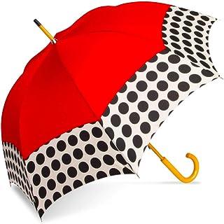 ShedRain Manual Open Wood Shaft Stick Umbrella: Red Spot On Polka Dots