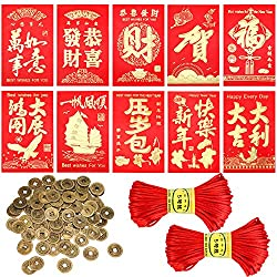 Chinese New Year Coins and Red Envelopes