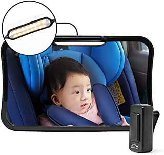 Moyu Home Infant Rear Facing Car Seat Mirror   Adjustable Smart Dual Mode LED Light with Remote   Crystal Clear View with ...
