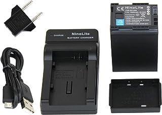 NinoLIte 3点セット BP-828 互換 バッテリー + USB型 充電器 +海外用交換プラグ キャノン Ivis GX10/ HF G40/G21/G20/G10/M43/M41/XF405/XF400/XA55等用