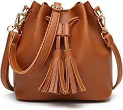 Dolce Na Womens Mini Bucket Bag Leather Drawstring Purse Tassel Crossbody Shoulder Bag