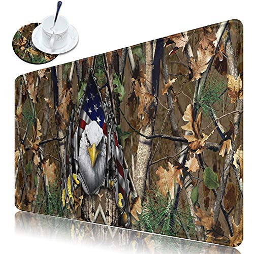 """Dikoer Large Extended Gaming Keyboard Mouse Mat Desk Pad with Stitched Edges Mousepad XL 31.5"""" x 11.8"""" Non-Slip Rubber Base Eagle on Camo Tree Writing Mat for Laptop Office Gamer Work Home & Coasters"""