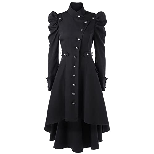 59a55cc44a26cc Nihsatin Vintage Womens Steampunk Victorian Swallow Tail Long Trench Coat  Jacket Thin Outwear