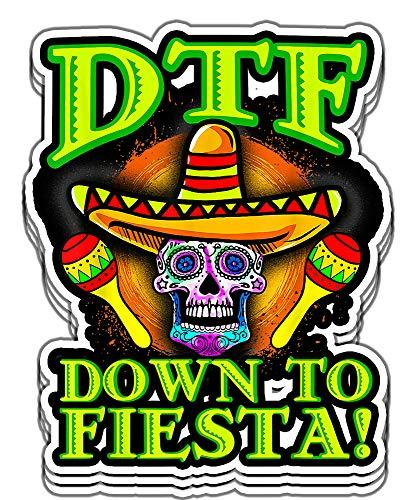 Armyco DTF Down to Fiesta Sugar Skull Sombrero Cinco de Mayo Vinyl Stickers, Laptop Decal, Water Bottle Sticker (Set of 3 Stickers 4x4)