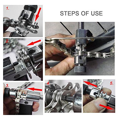 WINOMO Universal Fahrrad Kettennieter mit Kette Haken Fahrrad Kettennieter Reparatur, Fahrrad-Kette Splitter Cutter Breaker Fahrrad entfernen und installieren Breaker Spliter Kette Kettenwerkzeug - 5