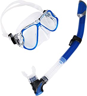 AriTan Snorkeling Snorkel Package Set, Anti-Leak Anti-Fog Coated Glass Diving Panoramic View Clear Tempered Glass Mask, Dr...