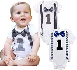 Baby Boy Romper Pattern First Birthday Bow Tie Bodysuit Infant Jumpsuit 12 Months