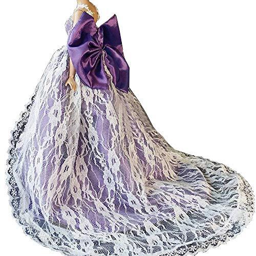 OurKosmos partido de la manera hecha a mano magnífico vestido Vestidos y Ropa de boda accesorios de la muñeca de la muñeca de -1 piezas(púrpura)
