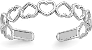 14K White Gold Polished Cut Out Hearts Toe Ring