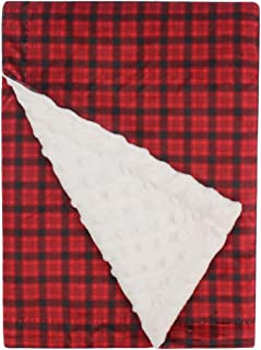 Super Soft Minky Baby Blanket, with Double Layer Dotted Backing, Plush Receiving Blanket for Boys, Girls, Newborns, Toddlers, Nursery, Bedding (Plaid Red/Black, 30 x 40 Inch)