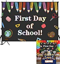 Allenjoy 7x5ft First Day of School Themed Photography Backdrop Pencil Book Blackboard Welcome Party Banner Back to School Dance Background Photo Studio Booth Props