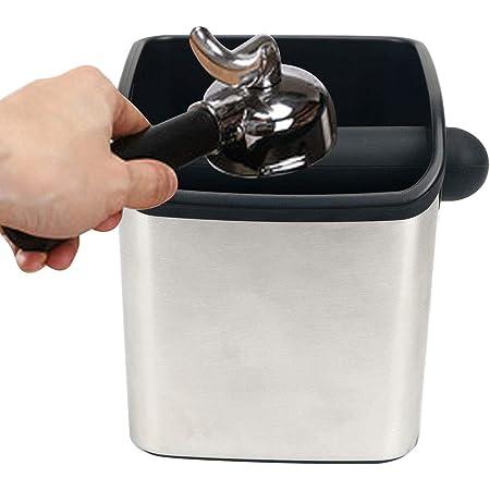 Boîte pour le Marc de Café,Knock Box,Boîte à café en Inox Bac Marc a Cafe,Poubelle de table à café,avec contour en caoutchouc,Seau Café Pot pour Récupérer le Marc de Café Boîte à Chocs Expresso