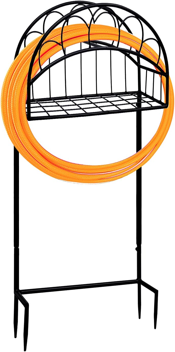 AIXI HOME Freestanding Garden Hose Stand Holder, Duty Metal Water Pipe Stand Rack for Outdoor, Black,Detachable (Oval)