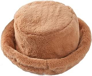 Tngan Winter Bucket Hat Women Men Warm Hats Vintage Faux Fur Fisherman Cap
