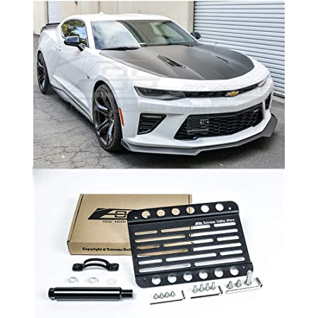 Xotic Tech Front Bumper License Plate Tow Hook Bracket Kit for Chevy Camaro 2016-up Black