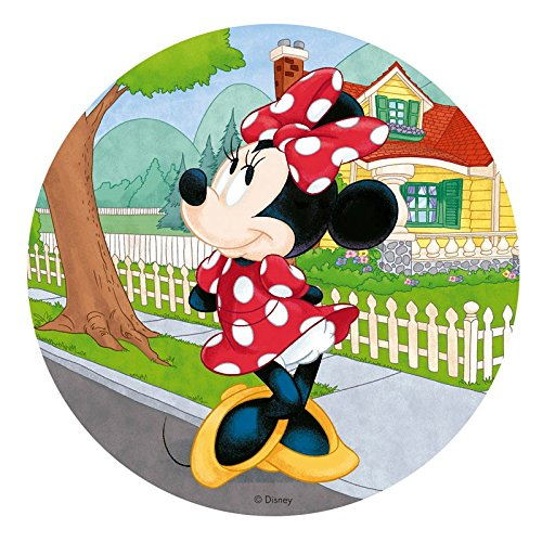 Dekora - Decoracion Tartas de Cumpleaños Infantiles en Disco de Oblea de Minnie Mouse - 20 cm